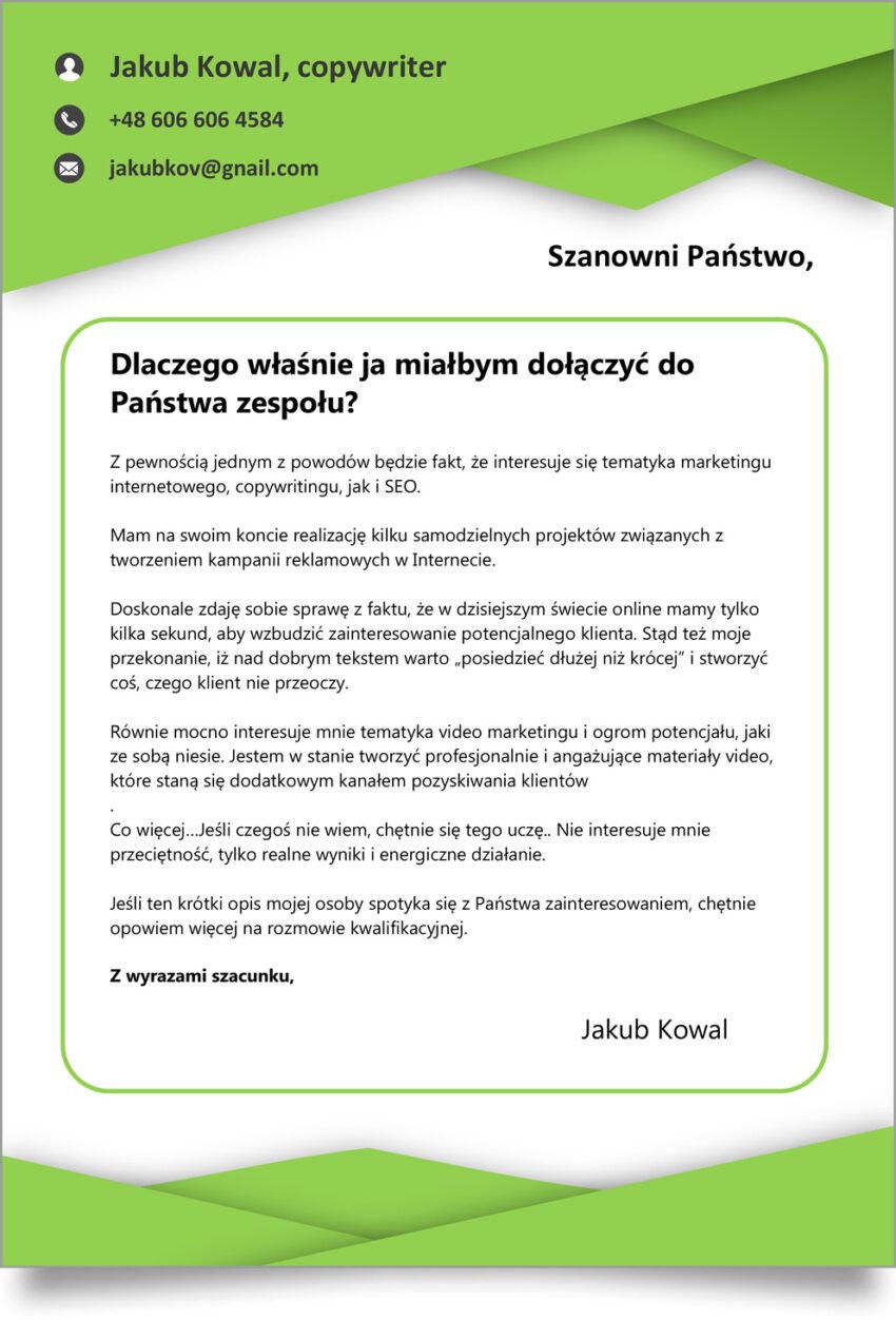 List Motywacyjny Szablon Doc