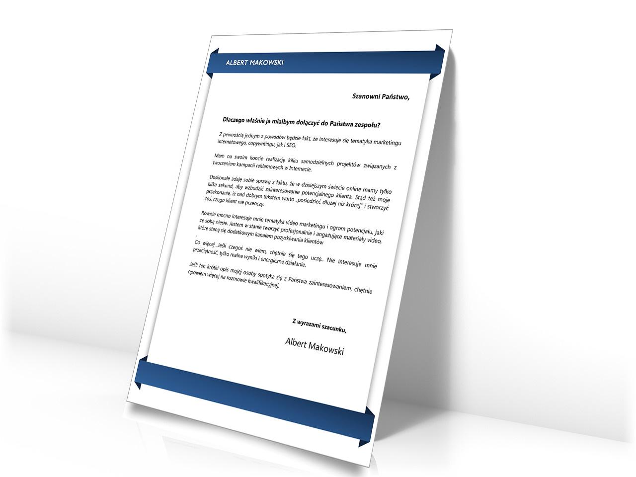 przykładowy list motywacyjny - wzor doc