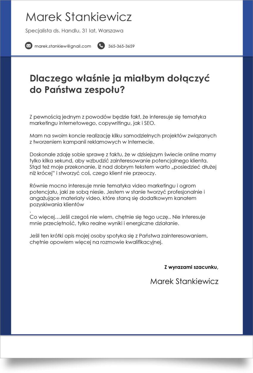 kreatywny cover letter szablon word pobierz